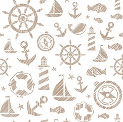 Nautical background, seamless, white, brown, vector. The attributes of a sea voyage on a white background. Brown drawings are drawn with diagonal hatching. Vector pattern.