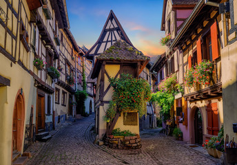 Wall Mural - Colorful half-timbered houses in Eguisheim, Alsace, France