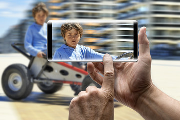 Holding a mobile Smartphone and take a picture