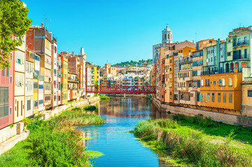 Colorful houses at river Onyar in Girona, Catalonia Spain Wall mural