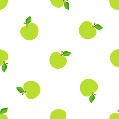 Vector illustration. Seamless pattern with falling green apples with stem and leaf on white background. Healthy vegetarian food