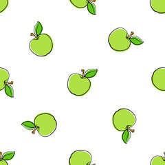 Vector illustration. Seamless pattern with falling green apples with stem and leaf on white background. Healthy vegetarian food. Pattern with contour.