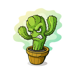 Vector illustration. Angry thorny cactus clenched teeth from anger in a flowerpot. Cartoon character with contour. Isolated on white background