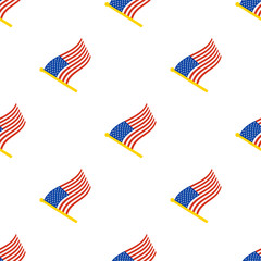 Vector illustration. Seamless pattern with flags of United States on flagstaff on white background
