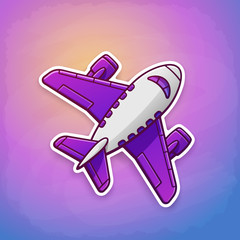 Vector illustration. Toy plane flying on the sky background at sunrise or sunset. Sticker in cartoon style with contour. Travel by airplane. Isolated on blue background