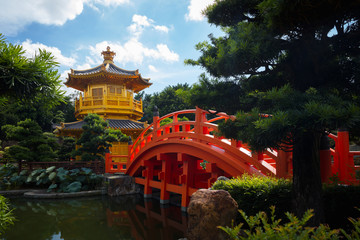 The golden pavilion of perfection in Nan Lian Garden, Hong Kong China