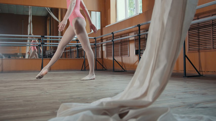 Graceful girl ballerina practicing in the Studio, elements of dance