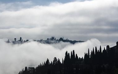 Poster Morning with fog orvieto, umbria, italia
