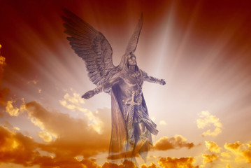 Wall Mural - Angel archangel Michael over divine sky with rays of light