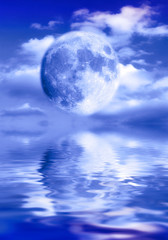 Wall Mural - Moon Luna over cloudy sky and water surface with reflections like a mystical, astrology, and magic background with copy space