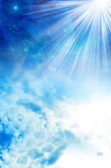 Wall Mural - Divine, spiritual, angel, mystic sky with rays of light like background
