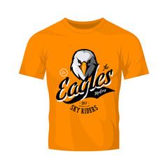 Vintage furious eagle bikers gang club vector logo concept isolated on orange t-shirt mockup. Street wear mascot badge design. Premium quality wild bird emblem t-shirt tee print illustration.