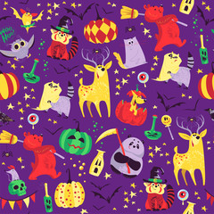 Vector flat cartoon Halloween seamless pattern with funny animals