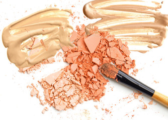 Cosmetic make up colors powder and beige foundation