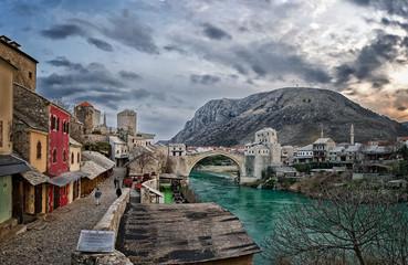 Historical Mostar Bridge (Stari Most) in city of Mostar, Bosnia and Hercegovina.