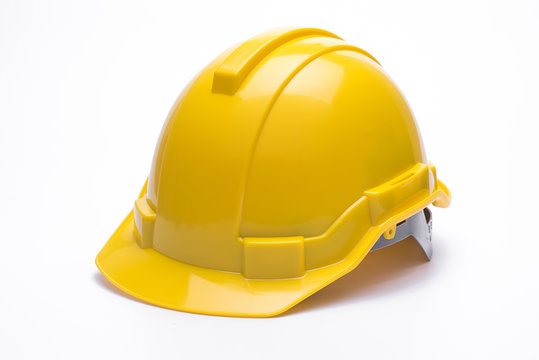 Yellow safety helmet isolated on white background.