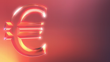 Glass euro sign against red and orange background. 3D rendering
