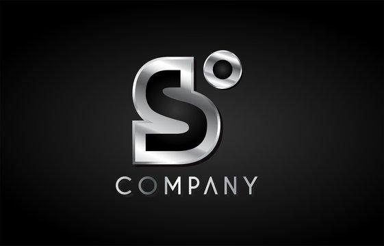 s silver metal alphabet letter icon design