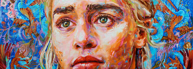 Painting female colorful portrait oil on canvas