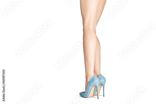 50c4f892498 Beautiful female legs in high heel shoes isolated on white ...