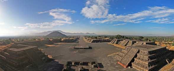 View of the Avenue of the Dead from the Pyramid of the Moon, Teotihuacan, Mexico