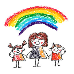 Teacher with small children Crayon drawing Kids drawing style Chalk illustration Mother with kids Small boys and girls in kindergarten