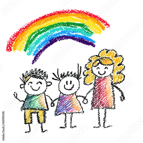 Children with teacher or mother Kids drawing illustration ...