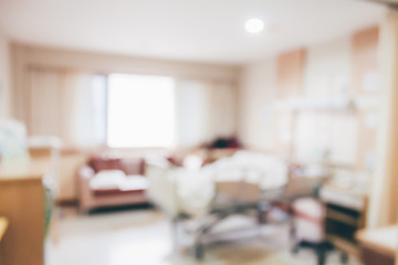 Abstract hospital room interior with bed blur background
