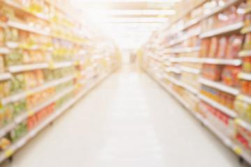 Empty Supermarket aisle shelves abstract blur defocused business background