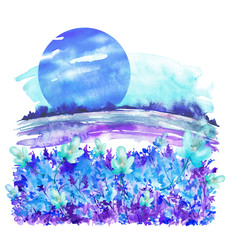Watercolor illustration, drawing. Night landscape of the field with flowers, plants against the background of a bright blue moon, the sun. The landscape is painted in a blue, violet range of colors.