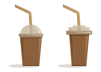 Set brown paper cups with plastic lid and straw for coffee, tea, cappuccino, espresso. Vector illustration