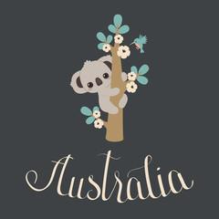 Cute koala climbing on a floral tree