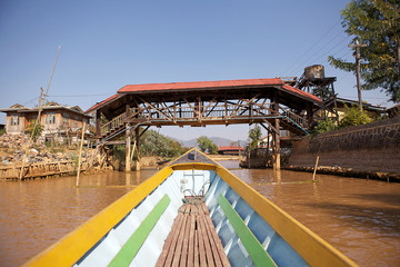 Traditional boat on the Inle Lake