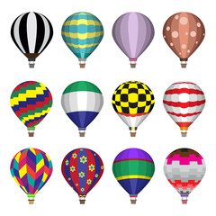Hot air balloons flat icons