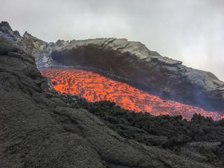 Effusive Activity at Mount Etna Volcano in italy