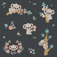 Fototapeta premium Śliczna koala w różnych pozach. Zestaw wektor koale