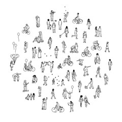 Round circle with tiny people: pedestrians in the street, a diverse collection of small hand drawn men and women walking through the city