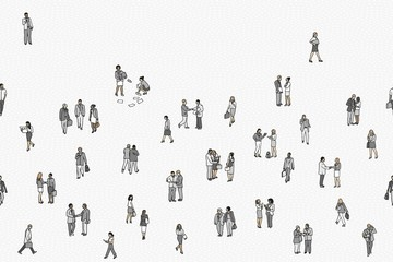 Illustration of tiny businesspeople: a diverse collection of small hand drawn men and women in business suits, small office workers walking through the city, seamless banner, can be tiled horizontally