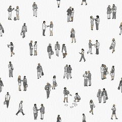 Seamless pattern of tiny business people: a diverse collection of small hand drawn men and women in business suits, small office workers walking through the city