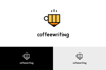 Coffee Writing with Pencil  Logo Illustration