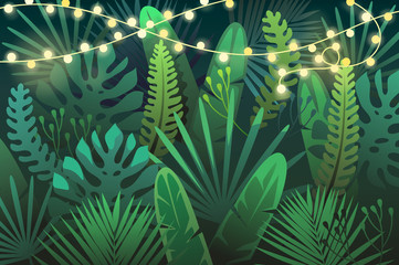 Dark tropical background with garland. vector illustration