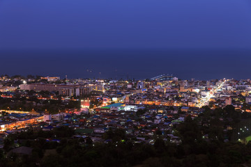 Hua Hin town from scenic point at twilight