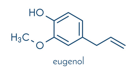 Eugenol herbal essential oil molecule. Present in cloves, nutmeg, etc. Skeletal formula.