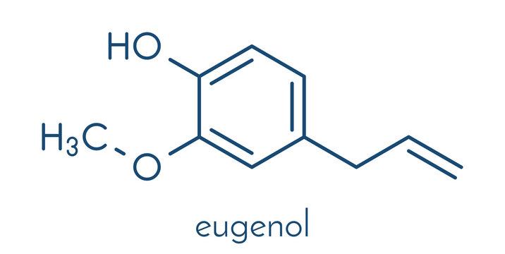 Eugenol herbal essential oil molecule. Present in cloves, nutmeg, etc. Skeletal formula.