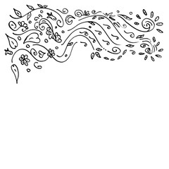 Patterns ornament drawn by hand. Black pattern on a white background. Fantasy illustration simple style.