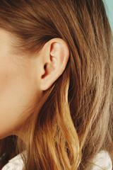 Female ear close up