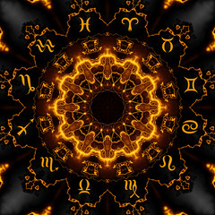 Magic circle with zodiacs sign on abstract mystic background.