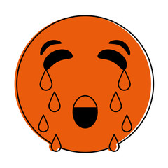 Orange monocromatic crying emoji design over white background vector illustration