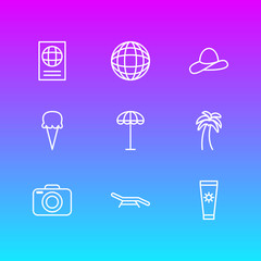 Vector Illustration Of 9 Summer Icons. Editable Pack Of Cap , Island , Sorbet Elements.