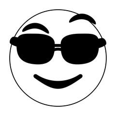 Black and white cool emoji over white background vector illustration